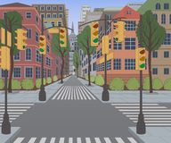 City street with buildings, traffic light, crosswalk and traffic sign. Cityscape background. Vector illustration Royalty Free Stock Image