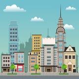 City street buildings tree design Royalty Free Stock Photo