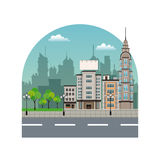 City street buildings tree silhouette landscape Royalty Free Stock Image