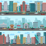 City street with cars and buildings. Vector wrapper panoramic urban design. Town street, illustration of urban building town Royalty Free Stock Image