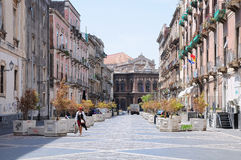 City street in Catania, Sicily. Royalty Free Stock Photography