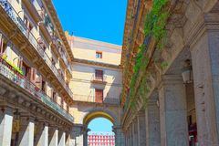 City Street Ciudad Rodrigo to Plaza Mayor English- Main Square. Was built during Philip III`s reign 1598–1621 and is a central plaza in the city of Madrid Royalty Free Stock Photos
