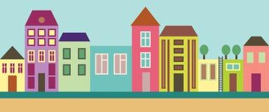City street. The color illustration vector illustration