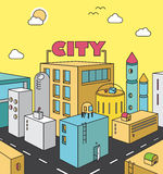 City street concept with buildings, roads, sky.Town, landscape, Royalty Free Stock Images