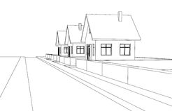 City street development vector perspective sketch Stock Image