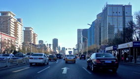 City street driving Beijing stock video footage