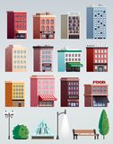 City Street Elements Buildings Set. City street colorful houses office buildings street elements collection with lanterns trees bench isolated vector Royalty Free Stock Photography