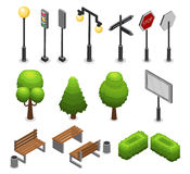 City Street Elements Set. With lamp lantern traffic light trees benches bushes billboard trash road signs isolated vector illustration Stock Photo