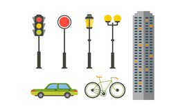 City street elements set, urban infrastructure objects, lantern, traffic light, bike, car, skyscraper vector. Illustration isolated on a white background stock illustration