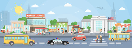 City street exterior. American city with court, fitness center and school bus, police car and stores royalty free illustration