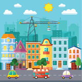 City Street in a Flat Design and Set of Urban Buildings Stock Photo
