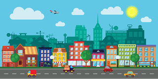 City Street in a Flat Design. Vector City Street in a Flat Design and Set of Urban Buildings stock illustration