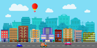 City street in a flat design. City street with urban buildings, houses, shops in flat style stock illustration