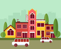 City street flat design vector illustration Stock Photo