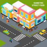 City Street Food Cafe Isometric Poster Stock Image