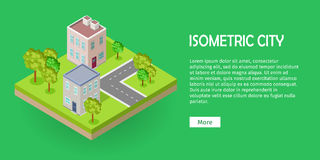 City Street Fragment Isometric Projection Vector Royalty Free Stock Photo