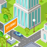 City Street Fragment Isometric Projection Vector Stock Images