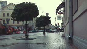 City street in heavy rain stock footage