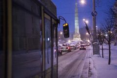 City street during a heavy snow Royalty Free Stock Photos