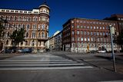 City street in Helsinki, Finland Stock Images