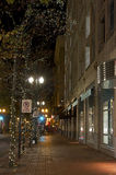 City Street With Holiday Lighted Trees Stock Image