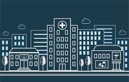 City street with a hospital, pharmacy and school on the background of residential buildings. In a linear style. Vector. City street with a hospital, pharmacy and Stock Photography
