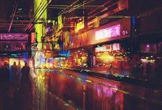 City street with illumination and night life Royalty Free Stock Photo