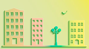 City street. Illustration of a city with colorful building in paper style, vector Royalty Free Stock Photography