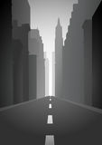 City Street. Illustration of an empty city street stock illustration