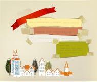 City street illustration, paper background Stock Image