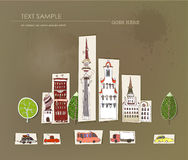 City street illustration, paper background Stock Photo