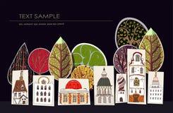 City street illustration, paper background Stock Photos