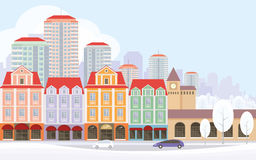 The city street. The image of a winter city. Snow-covered streets with small old houses and high-rise buildings in the background. Vector illustration