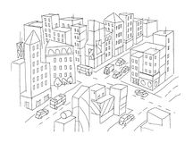 City street Intersection sketch. Traffic road view. Cars end buildings top view. Hand drawn vector stock line. Illustration. For coloring royalty free illustration
