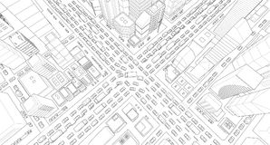 City street Intersection traffic jams road 3d. Black lines outline contour style Very high detail projection view. A lot. Cars end buildings top view Vector Stock Images