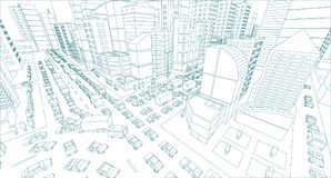 City street Intersection traffic jams road 3d drawing. Blue lines outline contour style Very high detail projection view. A lot cars end buildings top view Stock Image