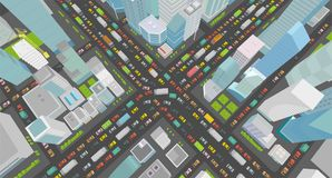 City street Intersection traffic jams road 3d. Very high detail projection view. A lot cars end buildings top view. City street Intersection traffic jams road 3d Stock Photos