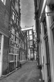 City street with lamp posts in Amsterdam Netherlands HDR Royalty Free Stock Image