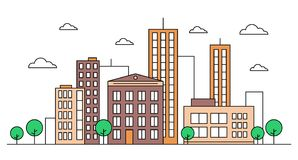 City street landscape skyline concept with buildings, scyscrapers, trees and clouds. Vector illustration. Editable stroke.Coloured. City street landscape skyline Stock Images