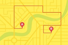 City street map plan with GPS pins and navigation route from A to B point markers. Vector yellow color illustration. City street map plan with GPS pins and vector illustration