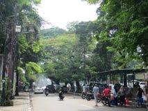 City street in Menteng, Jakarta.  Stock Photo