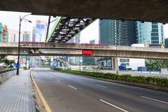 City street and monorailin ,Kuala Lumpur, Malaysia. Royalty Free Stock Photos