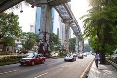 City street and monorailin ,Kuala Lumpur, Malaysia. Stock Photos