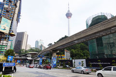 City street and monorailin ,Kuala Lumpur, Malaysia. Stock Image