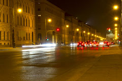 City street in Munich, Germany, at night. Well known Leopoldstrasse city street in Munich, Germany, at night Royalty Free Stock Photo