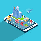 City Street Navigation Application Cell Smart Phone 3d Isometric Stock Images