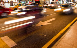 City street by night. Busy traffic in the city at night royalty free stock images