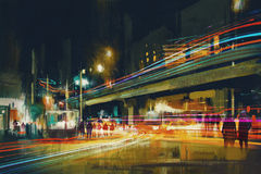 City street at night. Digital painting of city street at night with colorful light trails Stock Photography