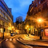 City street at night. Lebeaustraat in Brussels, Belgium, Europe at night Royalty Free Stock Photos