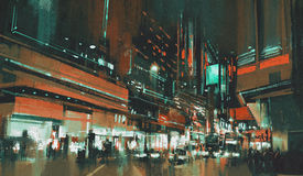 City street at night. Painting of city street at night with colorful lights Stock Illustration